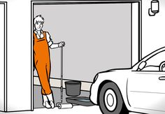 Heimwerker steht im geöffneten Garagentor, der Boden der Garage ist frisch beschichtet und versiegelt.