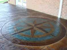 Custom Compass Rose Stamped Concrete Patio.  I've always had a thing for a good compass rose.