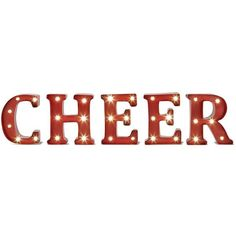 ''Cheer'' LED Marquee Sign Wall Decor, Red ($22) ❤ liked on Polyvore featuring home, home decor, christmas, red, metal signs, red home accessories, metal home decor, red home decor and christmas signs