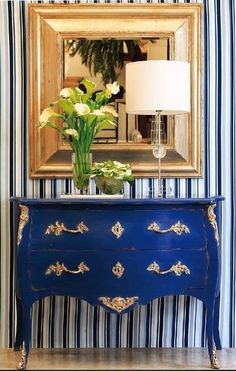 Gorgeous blue antique style chest with modern accessories... ᘡղbᘠ