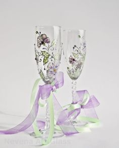Wedding Glasses Toasting Glasses HAND PAINTED Champagne Glasses