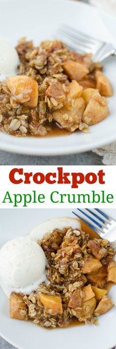 Slow Cooker Caramel Apple Crumble – cinnamon apples topped with a crumbly oat mixture – and it's made in the crockpot so it is super simple! A delicious fall dessert recipe. Fall Dessert Recipes, Easy No Bake Desserts, Crock Pot Desserts, Brunch Recipes, Fun Desserts, Easy Dinner Recipes, Fall Recipes, Easy Meals, Breakfast Recipes