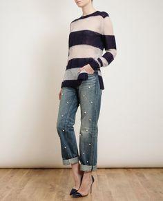 Tu Es Mon Tresor Small-Pearl Embellished Boyfriend Jeans