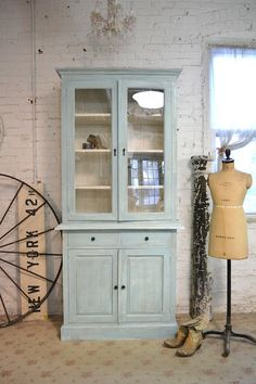 Painted Cottage Chic Shabby  Farmhouse Cabinet CC45