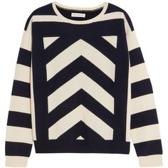 Chinti and Parker Intarsia wool and cashmere-blend sweater (£275) ❤ liked on Polyvore featuring tops, sweaters, stripe sweater, chevron tops, metallic top, striped sweater and chinti and parker sweater