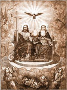 The Holy Trinity Father, Son and Holy spirit (dove) Religious Images, Religious Art, Santicima Trinidad, Pictures Of Jesus Christ, Ange Demon, Christ The King, Jesus Art, Biblical Art, Catholic Art