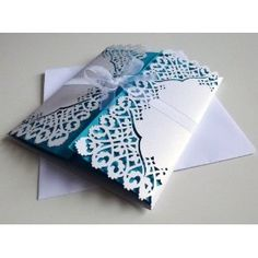 10 pack DIY Wedding Invitations White / Turquoise Lace Design with envelopes: Amazon.co.uk: Office Products