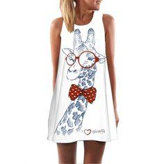 2018 Summer Dress Floral Print Boho Dresses For Women Casual Beach Sundress Sleeveless Flamingo Chiffon Dress Vestidos De Fiesta Vestidos Vintage Retro, Retro Vintage Dresses, Vestidos Color Blanco, Chiffon Floral, Chiffon Dress, Floryday Vestidos, Fiesta Dress, Flamingo Dress, Short Mini Dress