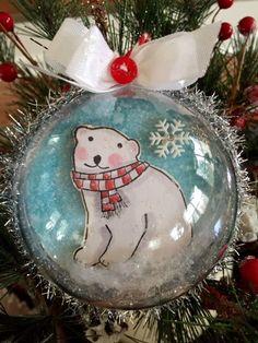 Polar bear half globe ornament