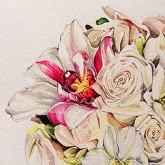 Work in progress: Orchid Posy in watercolor by Pip Spiro