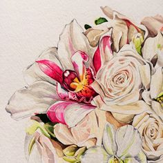 Work in progress: Orchid Posy in watercolor by Pip Spiro