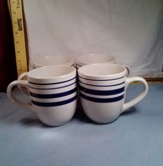 4 Royal Norfolk Ceramic Coffee Mugs Cups Greenbrier Stripe Blue EC Vintage