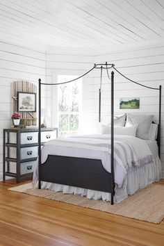"""""""If you want to do a white space, shiplap walls and ceilings are a great option because they add texture and character."""" -Joanna Gaines"""