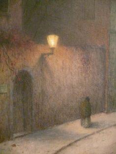 Detail of painting A Street in Winter (1905-10), by Jakub Schikaneder (Czech, 1855-1924)