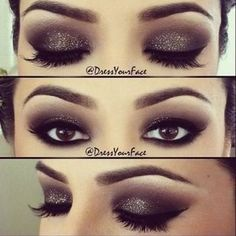 Here is another make up of the day look. It is a very dark with light sparkle eye make up look. This is perfect for a date night. I find all these make up Pretty Makeup, Love Makeup, Makeup Inspo, Makeup Inspiration, Makeup Tips, Makeup Looks, Makeup Tutorials, Makeup Ideas, Makeup Trends