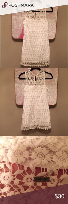 White Lace Dress Hollister lace mini dress. Conservative on top but still pretty short. It's flattering and perfect for anything! This was one of my favorite dresses but now it is too short for me sadly. Worn a few times but it's in excellent shape. Size 5, if you have hips/butt it might be too short FYI. Hollister Dresses Mini