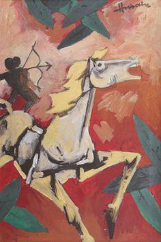 Maqbool Fida Husain (1913 - 2011) Untitled Signed in English (upper right) Oil on canvas 35.5 x 23.5 in 90.2 x 59.7 cm