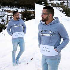 Grey Hooded Cartoon Pattern Loose Sweatshirt by : http://goo.gl/XF5QP4 Shop here : shein.com