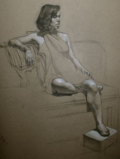 Julie charcoal on toned paper figure drawings and sketches by ef in 2019 ar Human Figure Drawing, Figure Sketching, Life Drawing, Gesture Drawing, Drawing Sketches, Art Drawings, Figure Drawings, Pencil Drawings, Paper Drawing