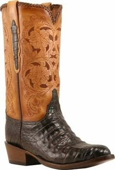Ariat Men's Fast Time Coffee Cowboy with Blue Hurricane Top Double ...
