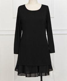 Love this Black Ruffle Scoop Neck Dress - Plus on #zulily! #zulilyfinds