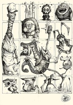 """Series of Sketches made with ballpoint pen on paper. """"Little and quick Concepts for Great Ideas"""" Monster Sketch, Monster Drawing, Monster Art, Monster Illustration, Character Illustration, Illustration Art, Cartoon Drawings, Cartoon Art, Art Drawings"""