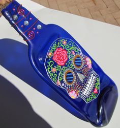 Blue melted wine bottle with Dia de los muertos by MeltingZone, $25.00