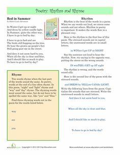 Rhyme Scheme Practice | Worksheets, Poetry and Poet