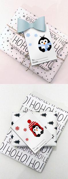 Penguins Printable Christmas Tags, Instant Download Christmas Gift Tags, DIY Christmas, Christmas Packaging Idea
