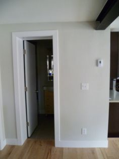 Modern, flat casing: door trim and baseboards