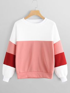 To find out about the Colorblock Round Neck Sweatshirt at SHEIN, part of our latest Sweatshirts ready to shop online today! Hoodie Sweatshirts, Sweatshirts Online, Hoody, Sweatshirt Outfit, Grunge Outfits, Fashion Outfits, Fashion Styles, Latest Fashion, Stylish Hoodies