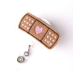 Bandaid Heart - Name Badge Holder - Cute Nurse Badge Reels - Retractable ID Badge Holder - Felt Badge Reel - Peds RN Badge - BadgeBlooms on Etsy, $7.00