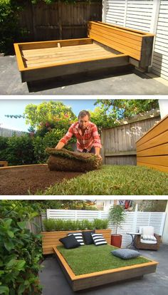 A DIY grass bed offers a cozy green oasis in your own backyard | Garden DIY | creative summer yard projects