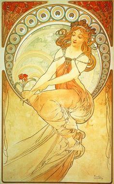 Alphonse Mucha Art Deco Print,1900s. jj