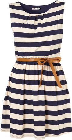 Boating anyone? Topshop  Stripe Belted Dress By Wal G**