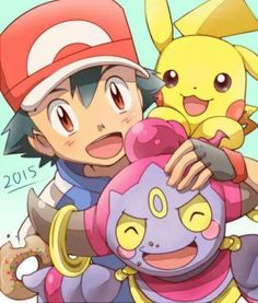 Ash Ketchum and his Pikachu with Hoopa ^.^ ♡ I give good credit to whoever made this