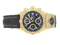 """FOR A LIMITED TIME - Ends On 2017-09-30 11:00 (GMT) - Watches Breitling BREITLING, Chronomat, Chronometre, """"Tachymetre"""", Cal 13 (ETA 7750), Movement no. 33708, Serial no. 33708, No. 028, Ref no. K13352, chronograph, men's wristwatch, 39 mm, 18K gold, self winding, sapphire crystal, date, UTC, Serial no. 0011, Ref no. K61172, 18K gold, quartz, sapphire crystal, leather strap, original buckle in 18K gold, approx 2001, service case. Keywords: Auction, breitling, Recommended,"""