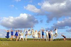 Destination Wedding in Mexico at the Fairmont Mayakoba, super fun bridal party goofing around on the golf course.  Mexico wedding photographers Del Sol Photography
