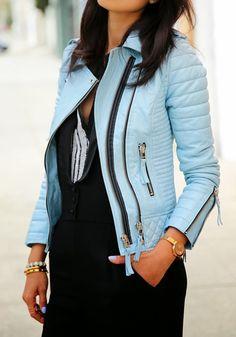 Blue Plain Zipper Turndown Collar PU Leather Jacket - Jackets - Tops