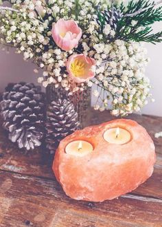gorgeous glow from this rock salt candle holder emits negative ions that restore and neutralize the atmosphere, when lit. Perfect addition to your sacred space, great table top Bohemian House, Bohemian Decor, Room Goals, Do It Yourself Home, Eclectic Decor, My New Room, Bedroom Decor, Nerd Bedroom, Candle Holders