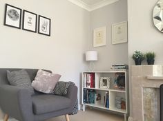 Unit; IKEA, Mirror; Argos, Lamp; Dunelm, wall colour; polished pebble by Dulux.