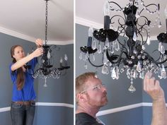 how to paint a chandelier.step by step directions. Really helpful because I wouldn& have thought of a lot of these steps. Furniture Projects, Home Projects, Diy Furniture, Repurposed Furniture, Chandelier Makeover, Diy Chandelier, Diy Home Decor, Room Decor, Diy Light Fixtures