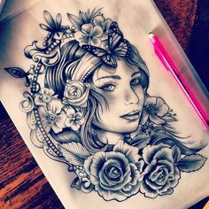 black and grey gypsy girl tattoo - Google Search