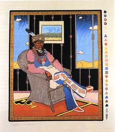 """T.C. Cannon """"Collector #5 (Man in a Wicker Chair)"""" 72x60 in. 1975"""