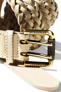 Burberry braided leather belt from the Brit White collection