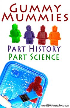 Lego Gummy Mummies are a unique experiment exploring desiccation. An excellent activity linking science and ancient historical cultures like the Egyptians. History Activities, Science Activities For Kids, Kindergarten Science, Science Fair Projects, Science Experiments Kids, Science Lessons, Stem Projects, Science Fun, Science Ideas