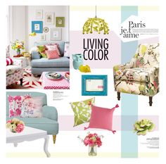 """""""Colorful Spring Home"""" by magdafunk ❤ liked on Polyvore featuring interior, interiors, interior design, home, home decor, interior decorating, Surya, M&S, Ethan Allen and Stray Dog Designs"""