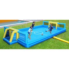 The Sportspower Ultimate Sports Arena is an inflatable basketball court and soccer field for the backyard. Outdoor Games, Outdoor Play, Outdoor Living, Sports Toys, Kids Sports, Soccer Training, Kids Corner, Kids Playing, Summer Fun