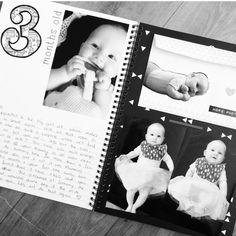 Personalized Journal for Babies - Twin First Year Baby Album Twin Baby Memory Book Gray /& White Dots 8 Center Designs