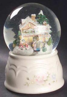 Pfaltzgraff Tea Rose Snow Globe, Fine China Dinnerware   Stoneware,Pink Roses,Bl